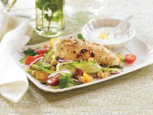 Baked Greek Chicken on Ribbon Salad
